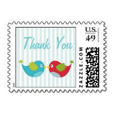 Love Birds Thank You Postage Stamp $10 OFF FOR A SHEET OF POSTAGE STAMPS TODAY!!!!---- USE CODE:  ZWEEKOFDEALS