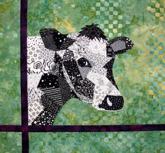 'Here's Looking at You' Cow Quilt by Shelly Burge; An original design using a Crazy Quilt technique; Donated to the 2010 Heifer International quilt auction in Chicago, Illinois. Quilting Projects, Quilting Designs, Quilt Design, Art Quilting, Quilt Art, Paper Piecing Patterns, Quilt Patterns, Farm Quilt, Quilt Modernen