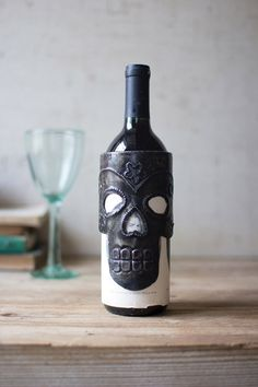 $9 sugar skull wine bottle wrap