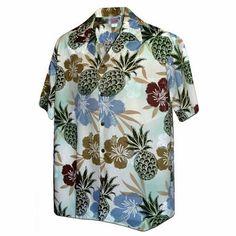 EELa Mens Printed Floral Flower Palm Leaf Parrot Monkey Short Sleeve Casual Button Down Shirt Summer Aloha Hawaiian M