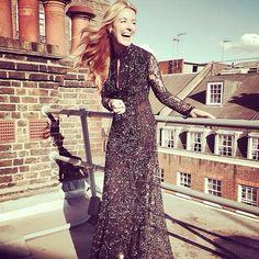 """""""@catdeeley in the butterfly lace gown - coming soon for Pre Spring 2015 #ohMW #PS15"""" As snapped by Matthew Williamson on Instagram. Cat Deeley wearing Matthew Williamson black butterfly lace gown stood on a rooftop laughing"""
