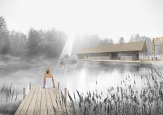 the competition project of blue clay spa in Latvia Vernacular Architecture, Architecture Design, Long House, Thatched Roof, Perspective, Photoshop, Exterior, Landscape, Georgia
