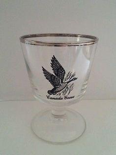 Canada Goose Wine Glass Silver Rim whiskey
