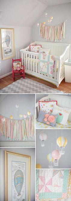 Sweet vintage nursery for baby. Love the hot air balloons Baby Bedroom, Nursery Room, Girl Nursery, Kids Bedroom, Yellow Nursery, Nursery Gray, Pastel Nursery, Room Baby, Baby Rooms