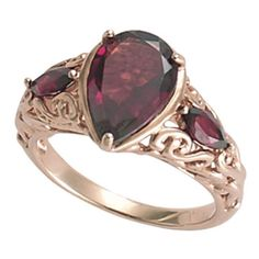 Rose Gold Over Sterling Mozambique Garnet Ring - New Age & Spiritual... (105 CAD) ❤ liked on Polyvore featuring jewelry, rings, accessories, jewels, anel, pink gold jewelry, rose gold rings, pink gold rings, rose gold jewellery and rose gold jewelry