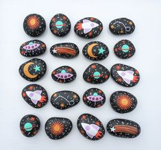 Set of 20 Hand Painted Space Rocks Themed Party Favor Moon Stars Rocket ufo Planets Universe Science Decor Eco-Friendly sun boy birthday Space Painting, Pebble Painting, Pebble Art, Planet Painting, Ufo, Hand Painted Rocks, Painted Pebbles, Rock Painting Designs, Rock Crafts