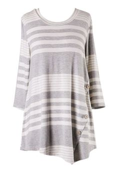 Kennedy 3/4 Sleeve Stripe Top with Button Detail