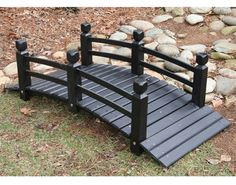White Cedar Economy Garden Bridge - Painted Black