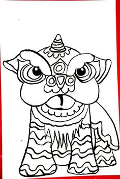 Chinese dragon coloring page chinese new year asian for Chinese lion coloring page