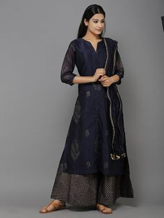 Navy Blue Gold Chanderi Persian Boota Kurta with Palazzo - Set of 3