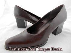 Womens shoes NINE WEST Chunky High Heel Pumps Brown LEATHER almond toe sz 10 M #NineWest #PumpsClassics #shoes