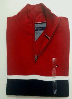 NWT Tommy Hilfiger Men's Half Zip Mock Neck Sweater, Blue Red, Size: Medium #TommyHilfiger #12Zip