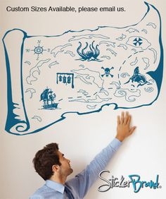 Vinyl Wall Decal Sticker Pirate Treasure Map #GFoster145 | Stickerbrand wall art decals, wall graphics and wall murals.