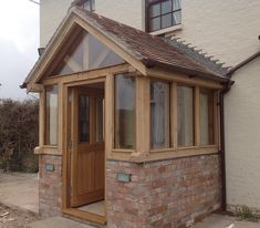 The Grafton – Oak Framed Enclosed Porch - Ganek Porch Uk, Cottage Porch, House With Porch, House Front, Oak Front Door, Front Door Porch, Front Porch Design, Porch Designs Uk, Patio Design
