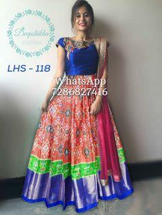 Half Saree Designs, Saree Blouse Designs, Kids Dress Patterns, Blouse Patterns, Long Gown Design, Frocks And Gowns, Ikkat Dresses, Long Gown Dress, Designer Party Wear Dresses