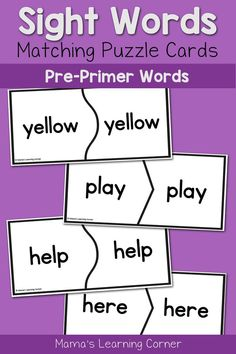 Basic Sight Words for Kindergarten: Pre-Primer Puzzle Cards
