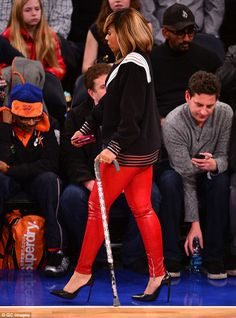 Latest accessory? Ashanti, 33, was spotted wielding an embellished walking cane as she visited Madison Square Garden on Wednesday evening #SpikeLeeFaceSaysItAll #LOL