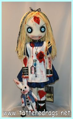 Zombie Alice in Wonderland - TOYS, DOLLS AND PLAYTHINGS - Inspired by Alice in wonderland and my love of horror and zombies She is 22 inches tall and completely hand stitched. Creepy Toys, Scary Dolls, Ugly Dolls, Creepy Cute, Zombie Dolls, Voodoo Dolls, Plush Dolls, Rag Dolls, Gothic Dolls