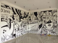 D&Apos;Juries coffee shop on di 2019 coffee shop murals роспись с Doodle Wall, Doodle Art Letters, Doodle Art Journals, Mural Wall Art, Graffiti Wall, Street Art Graffiti, Mural Cafe, Cafe Wall, Office Mural