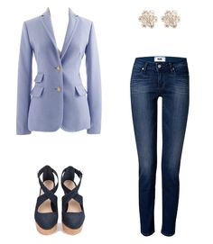 Sparkly studs, tailored blazer, and killer wedges :)
