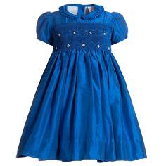 Hand-Smocked Blue Silk Dress, Annafie, Girl