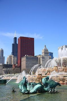 """""""The Fine Art Photography of Frank Romeo."""" Chicago - View of skyscrapers and famous Buckingham Fountain in Grant Park. Mostly the fountain in this one, with just enough of the Chicago landmarks to make it recognizable."""