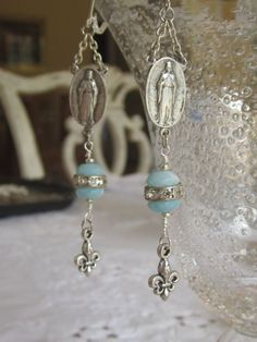 vintage repurposed jewelry earrings religious rosary center connector Mary fleur de lis by atelier paris via Etsy $69.
