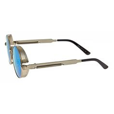 Steampunk Sunglasses - Blue Mirror Lens & Silver Frame ; Lens Protection UV400 ; Gender UNISEX