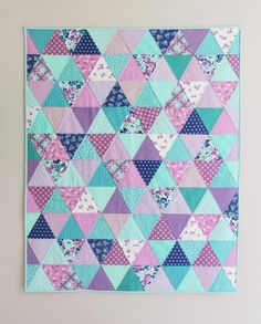 Lavender, violet, and all the blues! More details about this triangle baby quilt on my blog. Most of the fabrics are from Hello Jane @windhamfabrics coming very soon!