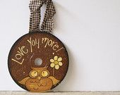 Hand Painted Owl CD Ornament - pinned by pin4etsy.com