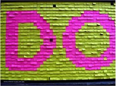 words made out of post it notes