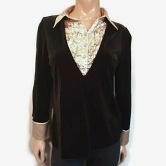 Vtg Tanjay Faux Layer Velvet Top Womens Petite Medium Black Gold Ruffled Blouse #Tanjay #Basic #PartyCocktail Cool Jackets, Jackets For Women, Rain Trench Coat, Velvet Tops, Black Gold, Collars, Vintage Outfits, Layers, Ruffle Blouse