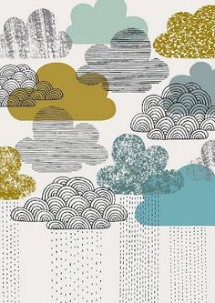 Nothing But Rain limited edition print by Eloise Renouf Illustration Print Clouds 'Looks Like Rain' Clouds illustration - but a lovely idea for applique with embroidery? Clouds illustration, love the style! clouds- Love this illustration on the cover of U Art And Illustration, Pattern Illustration, Textures Patterns, Print Patterns, Doodle Patterns, Pattern Print, Color Patterns, Art Design, Graphic Design