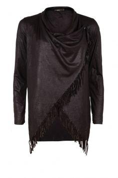 Poncho vest Sinzy   zwart - www.littlesoho.com