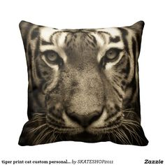tiger print cat custom personalize Anniversaries Throw Pillow