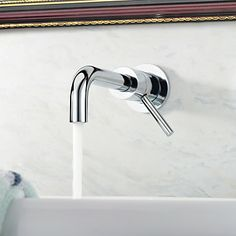 wall mounted faucets for bathroom | Contemporary Wall Mount Solid Brass Bathroom Faucet - Chrome Finish