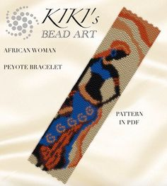 This is my own designed pattern in PDF format, downloadable directly from ETSY. This pattern is for my African woman bracelet, which is created with 2 drops even peyote. The PDF file includes: 1. a large picture of the pattern 2. a large, detailed graph of the pattern, 3. a bead legend