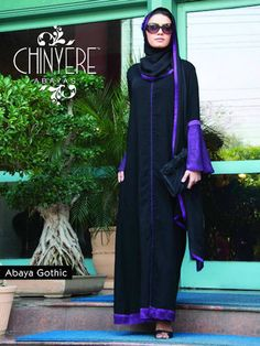 Abaya- Black Purple