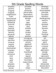 5th grade spelling_words_list 8th Grade Spelling Words, 5th Grade Sight Words, Spelling Bee Word List, Spelling Word Activities, Spelling For Kids, Spelling Worksheets, Spelling Test, Listening Activities, English Spelling Words