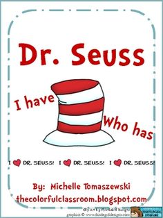 """Dr. Seuss """"I have...Who has?"""" Number + Alphabet Game"""