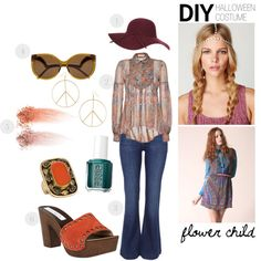 """""""d.i.y. halloween costume: flower child"""" by luxieeee on Polyvore"""