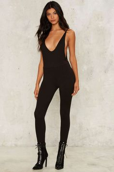 Open Back Policy Plunging Jumpsuit, Black | Shop Clothes at Nasty Gal!