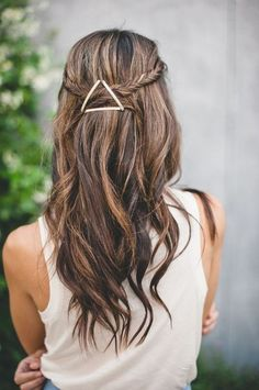 Triangle bobby pins with half up half down fishtail braids (change the bobby pins to a pretty hair clip)