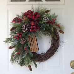 Holiday Wreath-Winter Wreath-Christmas Wreath-Wooden Sleigh Wreath-Evergreen Wreath-Country Wreath-Woodland Wreath-Wreath for Door by ReginasGarden on Etsy https://www.etsy.com/listing/252718938/holiday-wreath-winter-wreath-christmas