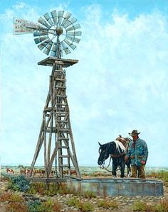 Jacob's Well, by Kenneth Wyatt Frederic Remington, Farm Windmill, Windmill Diy, Cowboy Artwork, Jacobs Well, Art Public, Old Windmills, Real Cowboys, American Frontier