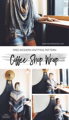 Coffee Shop Wrap Pattern by Two of Wands using Lion Brand yarn Cotton Knitted Shawls, Crochet Scarves, Crochet Shawl, Crochet Yarn, Crochet Clothes, Crochet Vests, Crochet Edgings, Shawl Patterns, Knitting Patterns Free