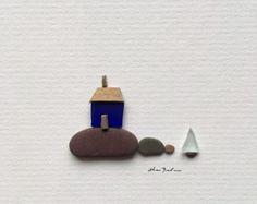 Original sea glass art 5 by 5 Mini unframed pebble art picture