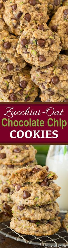 Zucchini Oat Chocolate Chip Cookies - the BEST use for all that summer zucchini! Everyone always loves these!