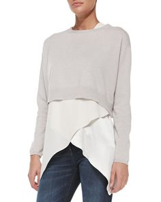 Love Love Love!  Long-Sleeve Cropped Cashmere Pullover by Brunello Cucinelli at Bergdorf Goodman.