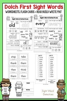 These first grade sight words are perfect for helping your child continue to learn to read. Dolch First Sight Words plus interactive worksheets! Sight Words Printables, Sight Word Worksheets, First Grade Worksheets, Sight Word Activities, Teaching Sight Words, Sight Word Practice, Second Grade Sight Words, Dolch Sight Words, Common Core Curriculum